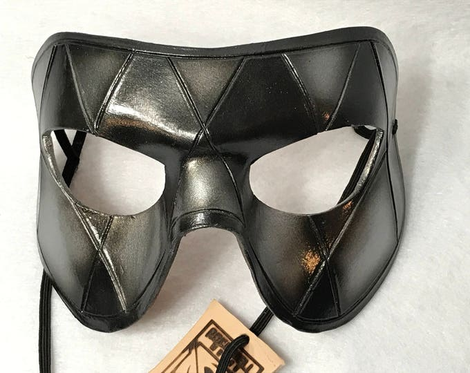 Silver Harlequin Handmade Genuine Leather Mask in Black and Silver for Masquerades Halloween or Cosplay
