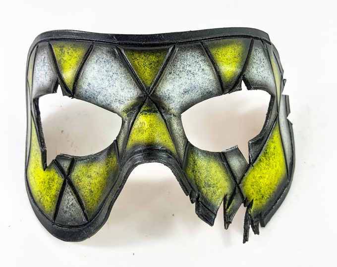 Harlequin Handmade Genuine Leather Mask in Yellow and White