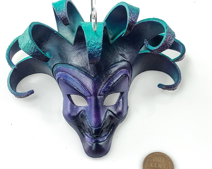 Jester Miniature Genuine Leather Mask Ornament