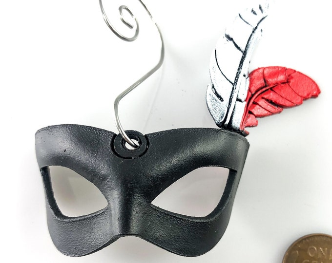 Miniature Leather Mask Ornament - Black Eye Mask with Red And White Feather