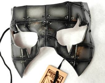 Silver Handmade Genuine Leather Mask in Rusted Steel Pattern for Masquerades Halloween or Cosplay Costume - Riveted