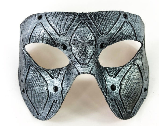 Handmade Genuine Leather Mask in Silver with Swarovski Crystal Accents