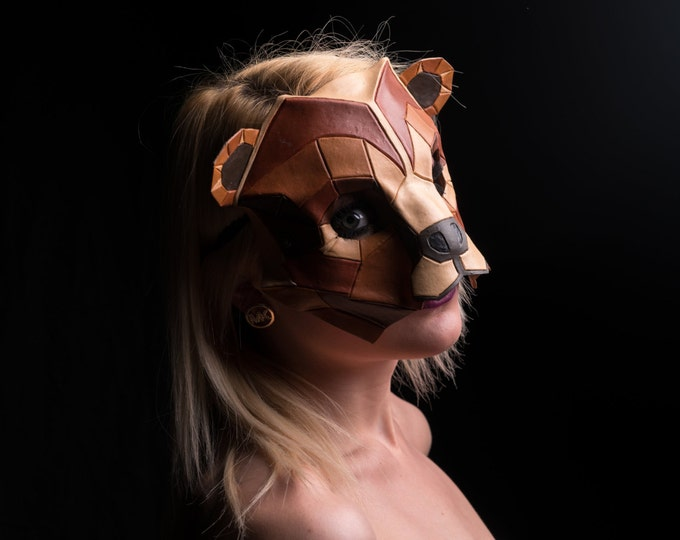 Geometric Grizzly Bear Leather Mask