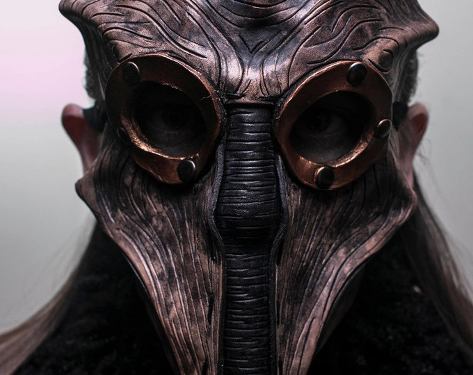 Steampunk Inspired Handmade Genuine Leather Mask in Brown - The Future of Man