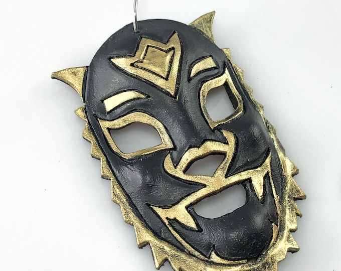 Lion Luchador Miniature Genuine Leather Mask Ornament - Black and Gold