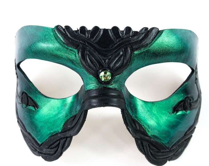 Handmade Genuine Leather Mask in Green and Black with Swarovski Crystal Accent