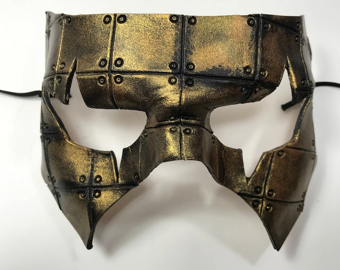 Handmade Genuine Leather Mask in Black and Gold