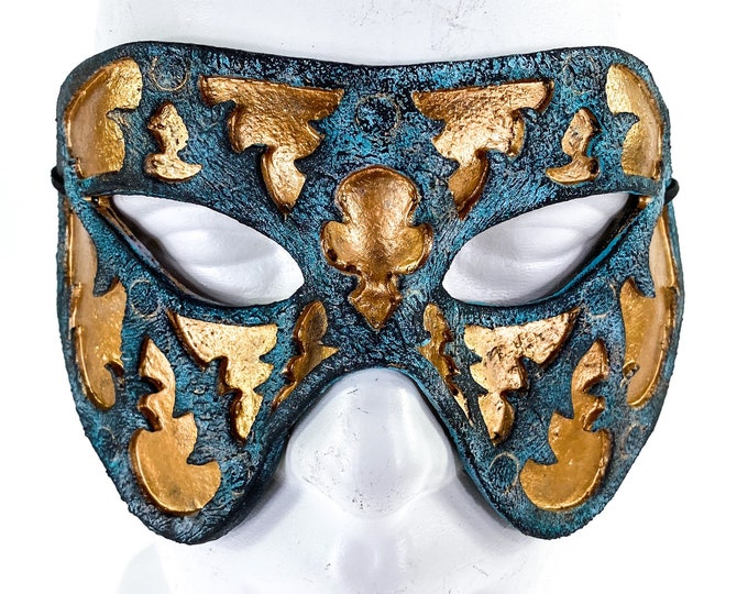 Dual Layer Handmade Genuine Leather Mask in Copper and Blue