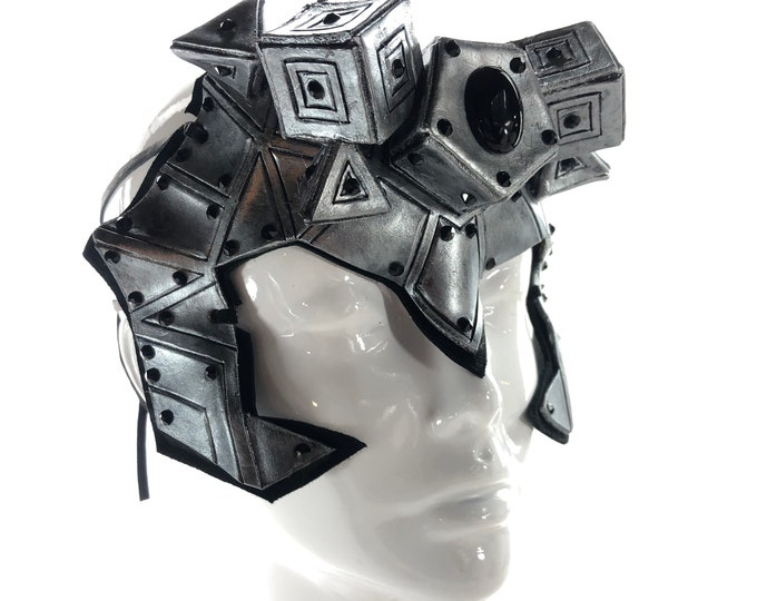 ONE OF A KIND Geometric Genuine Leather Handmade Mask with Onyx and Swarovski Crystal Accents