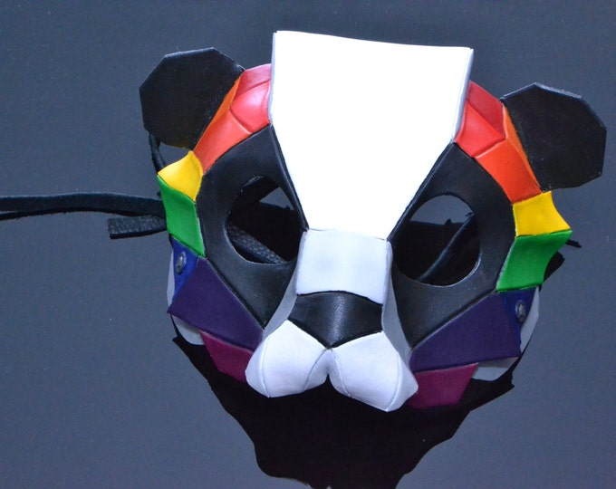 Geometric Rainbow Panda Bear Leather Mask