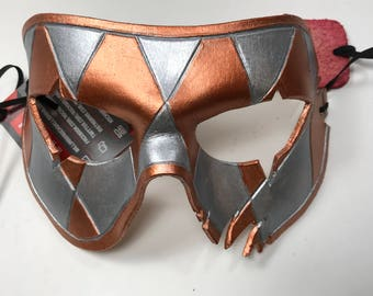 Harlequin Handmade Genuine Leather Mask in Silver and Copper for Masquerades Halloween or Cosplay