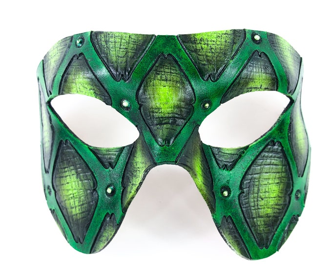 Handmade Genuine Leather Mask in Green and Black with Swarovski Crystal Accents