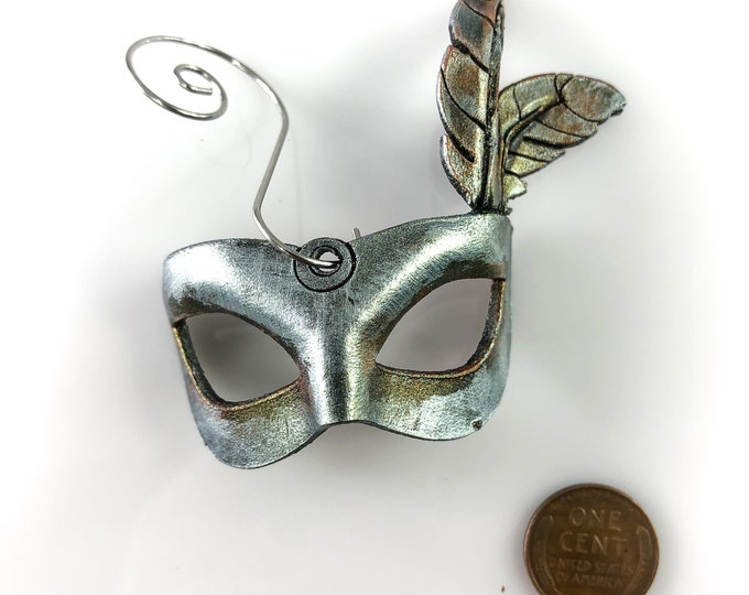 Miniature Leather Mask Ornament - Antiqued Silver