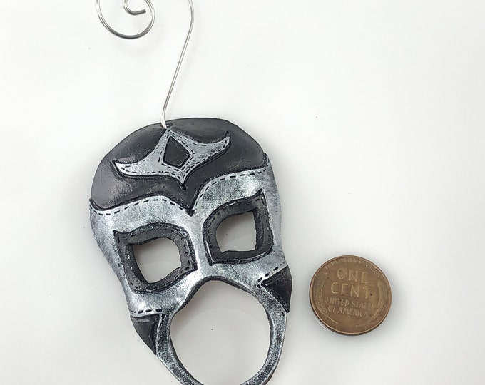 Luchador Miniature Genuine Leather Mask Ornament - Silver and Black