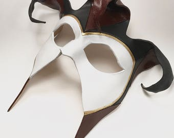 Jester Handmade Genuine Leather Mask in Red, Black and White for Masquerades Cosplay or Halloween