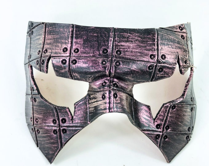 Silver Handmade Genuine Leather Mask in Pink for Masquerades Halloween or Cosplay Costume - Riveted