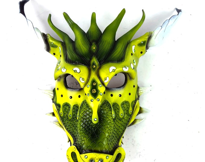 Yellow Green Ancient Dragon Leather Mask with Swarovski Crystals