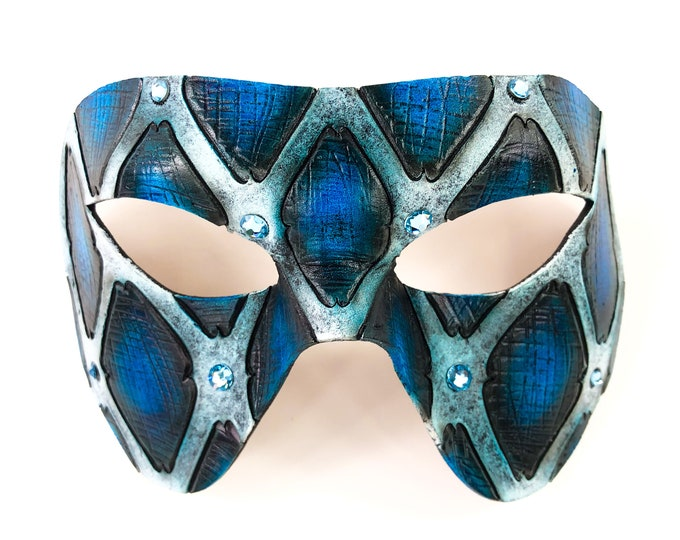 FLASH SALE - Final Closeout - Handmade Genuine Leather Mask in Blue and White with Swarovski Crystal Accents
