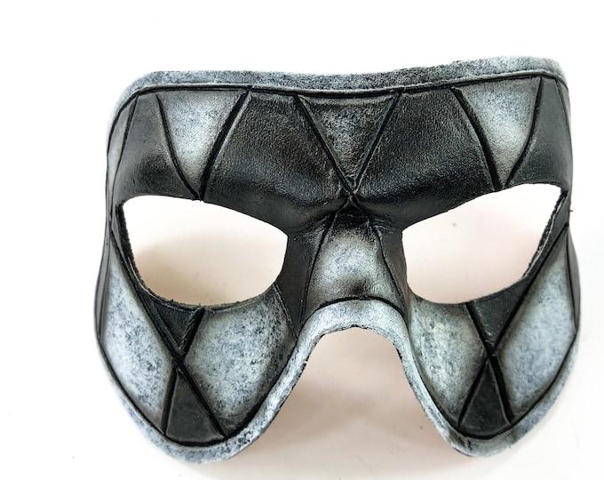 Harlequin Handmade Genuine Leather Mask in Black and White
