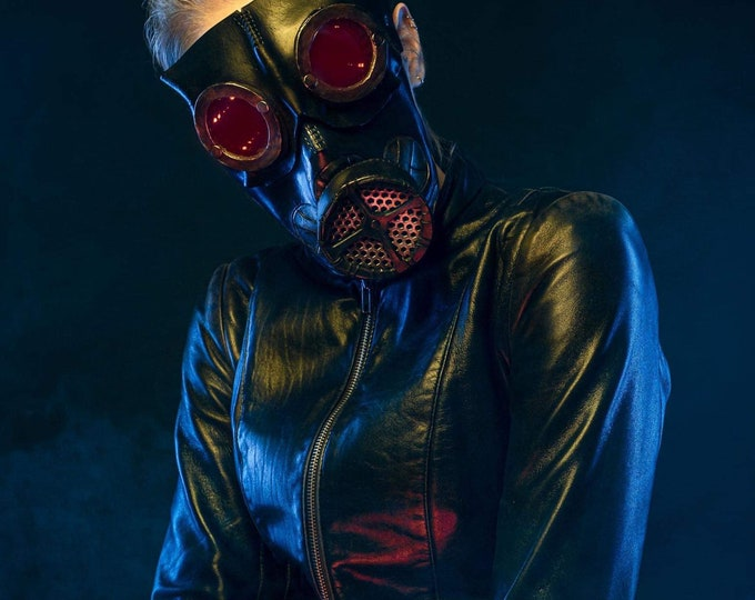 Limited Run Gas Mask Handmade Leather Mask in Gold Infinity Mirror Lenses and Red LED Lights