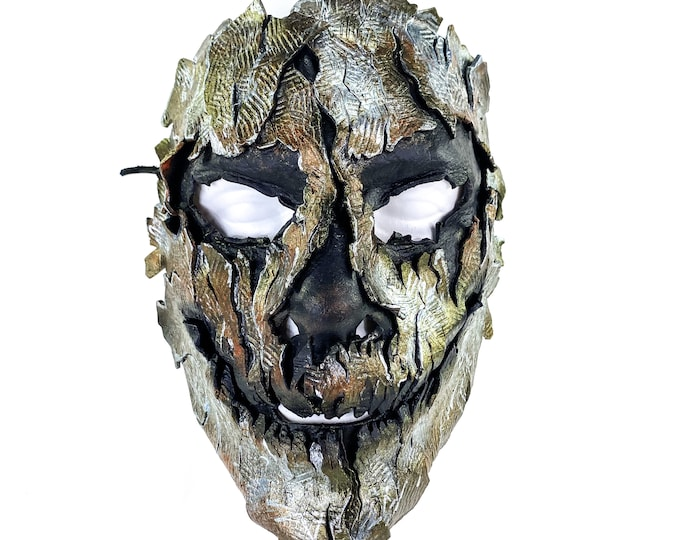 Genuine Leather Mask - Shattered Metal Paint - Handmade Full Face Cover for Halloween, Performance or Cosplay Costume