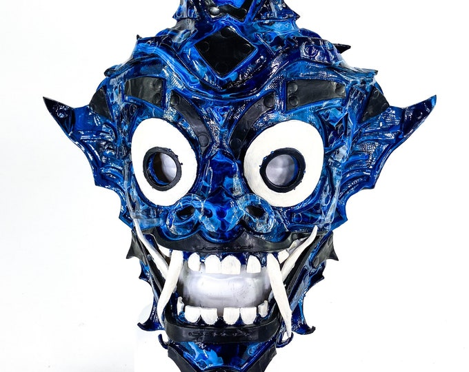Blue Marble - One of a Kind Layered Handmade Leather Mask