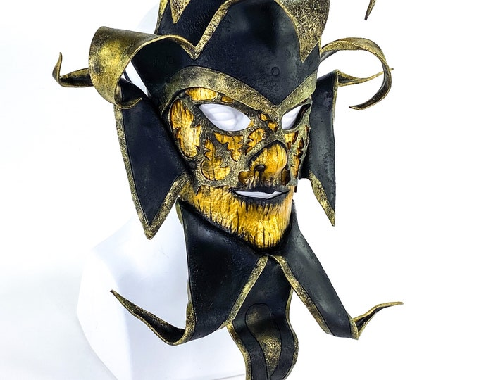 New Release Venetian inspired Jester Mask in Gold and Black - Wearable or Wall Art