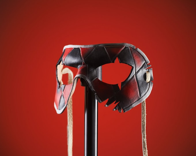 Two Face Harlequin Handmade Genuine Leather Mask in Red