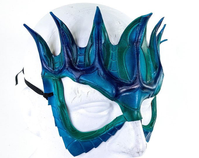 Masquerade Crown Mask of Handmade Genuine Leather in blue