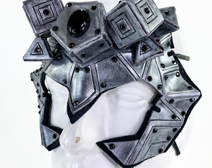 FLASH SALE - Final Closeout - One of a Kind Handmade Leather Mask in Silver with Swarovski Crystal Accents and Onyx center stone