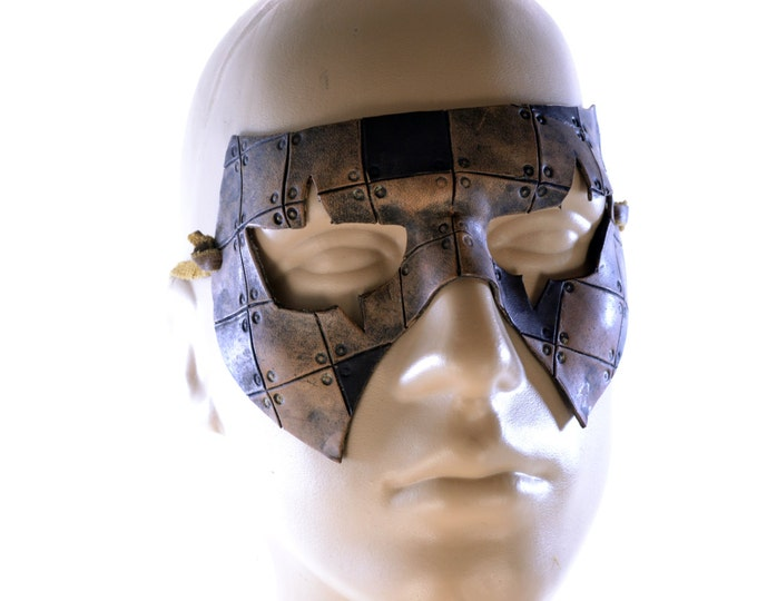 Handmade Genuine Leather Mask in Leather Patchwork Pattern for Masquerades Halloween or Cosplay Costume - Riveted