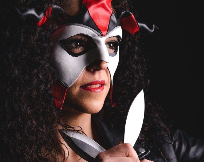 Jester Handmade Genuine Leather Mask in Red and White