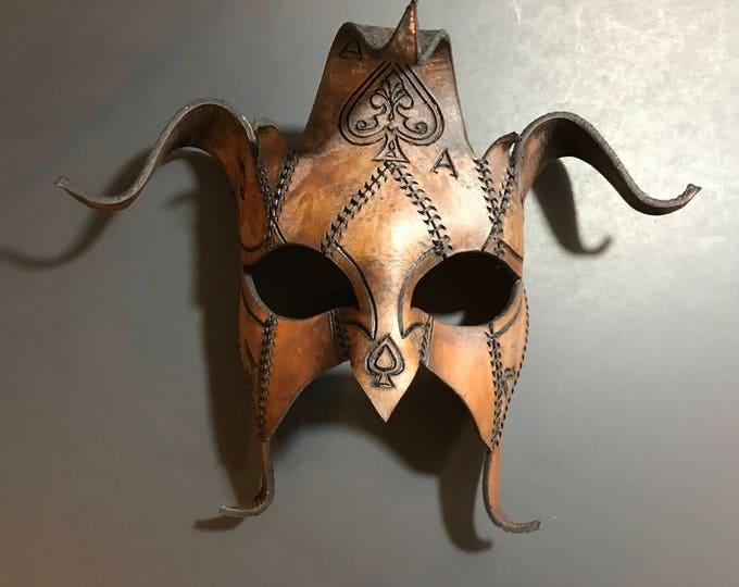The Joker's Card- Joker Jester Handmade Genuine Leather Mask in Dyed Leather