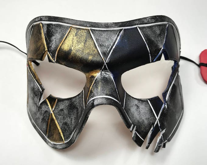 Harlequin Handmade Genuine Leather Mask in Blue White Black and Gold