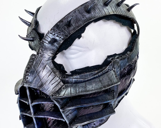 One of a Kind Handmade Leather Mask with Metal Fabric Accent