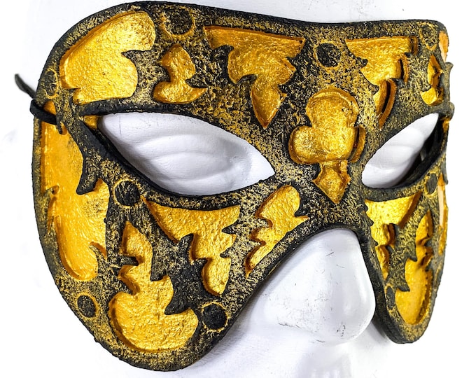 Dual Layer Handmade Genuine Leather Mask in gold and black