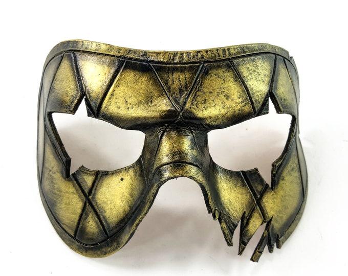 Harlequin Handmade Genuine Leather Mask in Gold