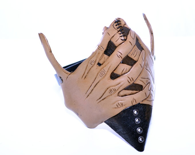 Speak No Evil - Women's Hands - One Size Fits All Handmade Genuine Leather Riding Mask