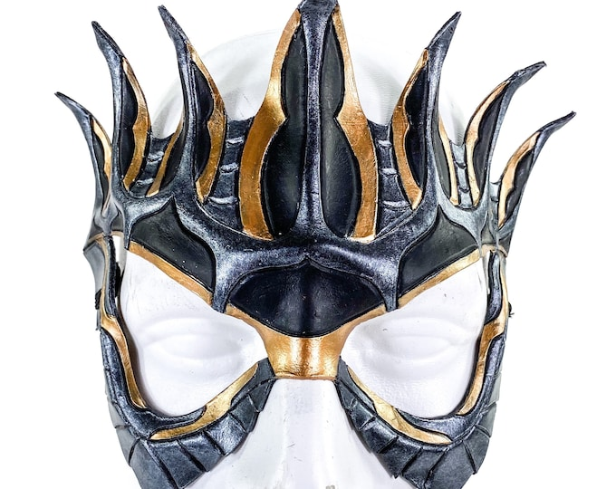 Masquerade Crown Mask of Handmade Genuine Leather in Metallics