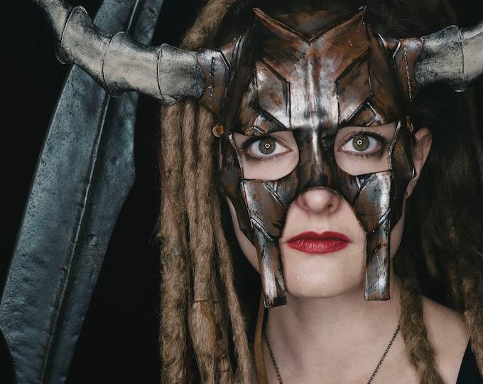 Horned Handmade Genuine Leather Mask