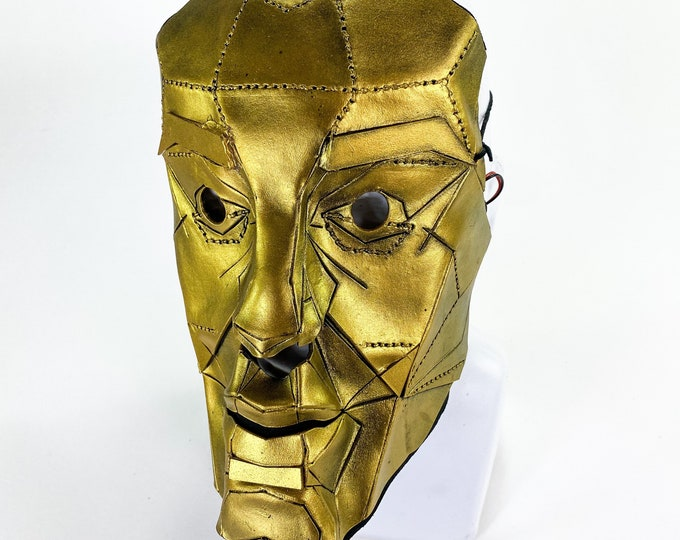 One of a Kind Face Proportion Handmade Leather Mask in Gold with Blue LED Highlights