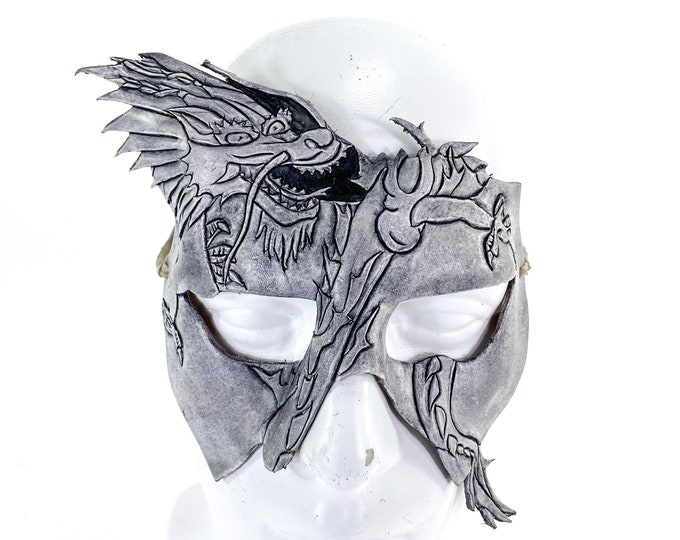 FLASH SALE - Final Closeout - Dragon Handmade Genuine Leather Mask in White