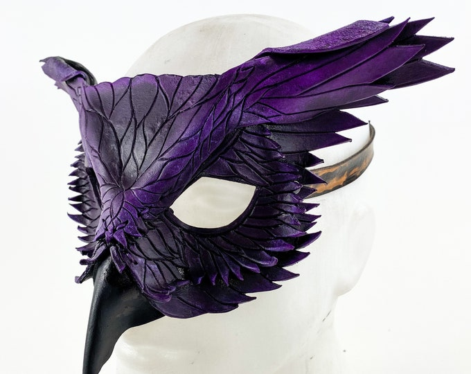 Layered Horned Owl Handmade Genuine Leather Mask in Purple