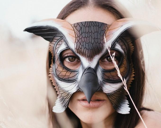 Horned Owl Handmade Genuine Leather Mask