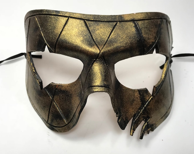 Harlequin Handmade Genuine Leather Mask in Black and Gold for Masquerades Halloween or Cosplay