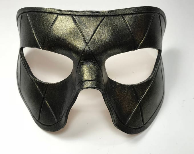 Harlequin Handmade Genuine Leather Mask in Black with Gold Hues