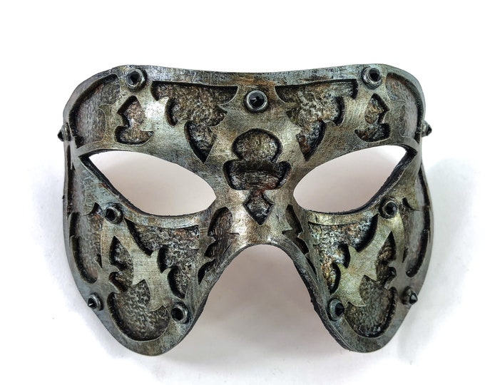 Dual Layer Handmade Genuine Leather Mask in Silver Rust with Swarovski Crystals