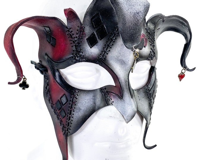 The Joker's Card - Grungy Joker Jester Handmade Genuine Leather Mask in Red with Charms