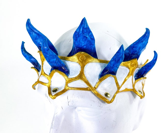 Masquerade Crown of Handmade Genuine Leather in blue gold and white