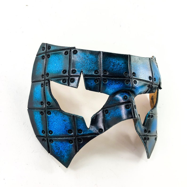Handmade Genuine Leather Mask in Blue and Black